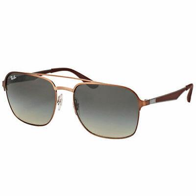 Ray-Ban RB3570 121/11 Brown Metal Square Sunglasses Grey Gradient Lens 58mm 1