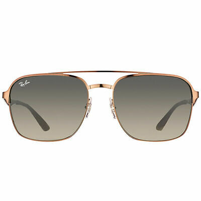 Ray-Ban RB3570 121/11 Brown Metal Square Sunglasses Grey Gradient Lens 58mm